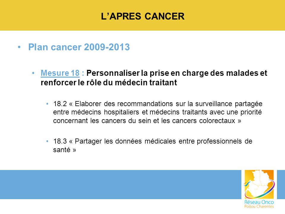 L'APRES CANCER Plan cancer