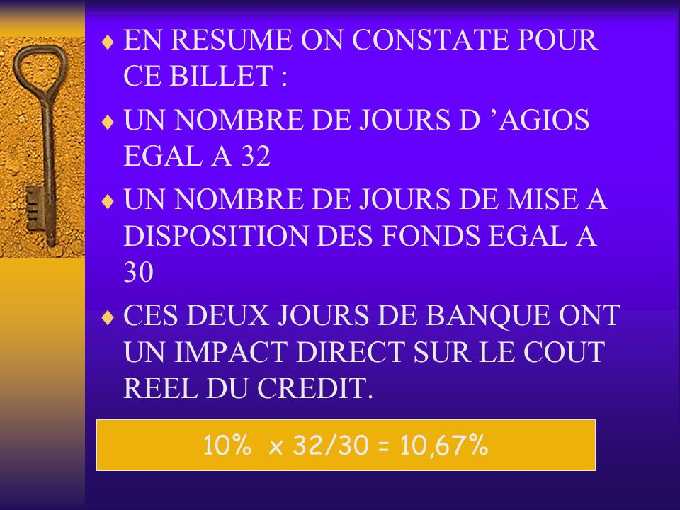 EN RESUME ON CONSTATE POUR CE BILLET :