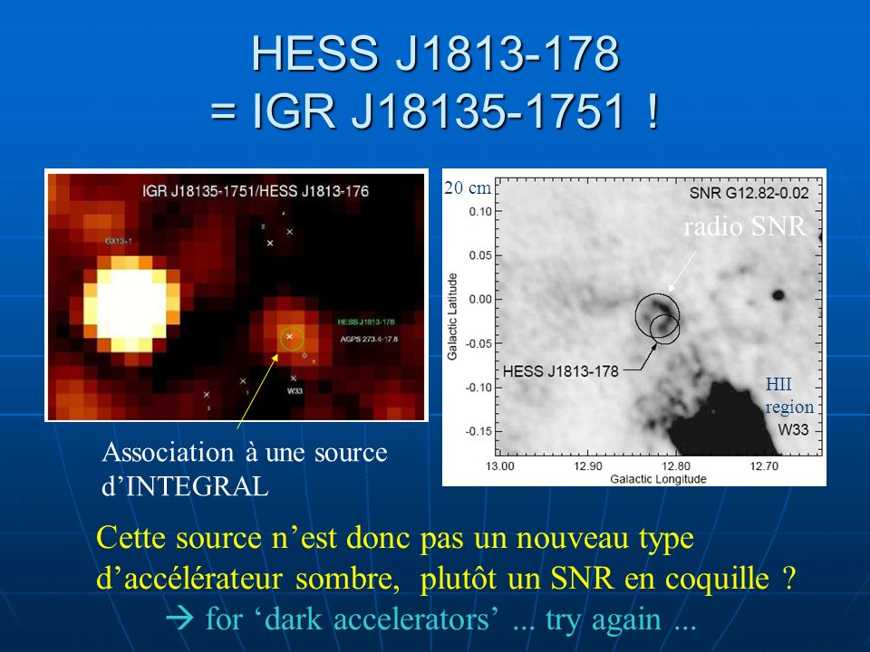 HESS J = IGR J ! 20 cm. radio SNR. HII. region. Association à une source. d'INTEGRAL.