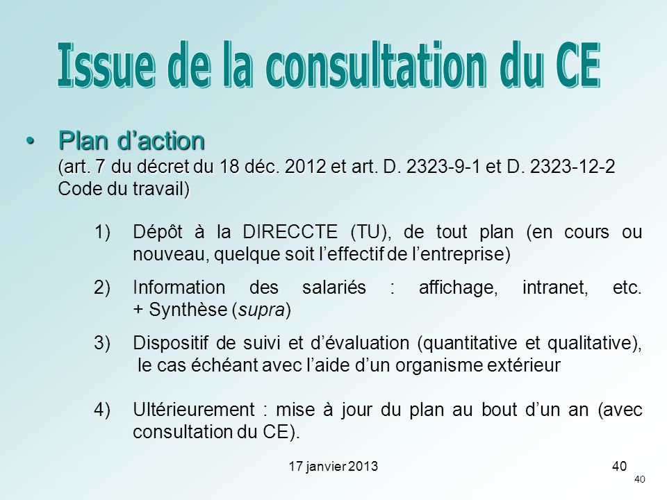 Issue de la consultation du CE