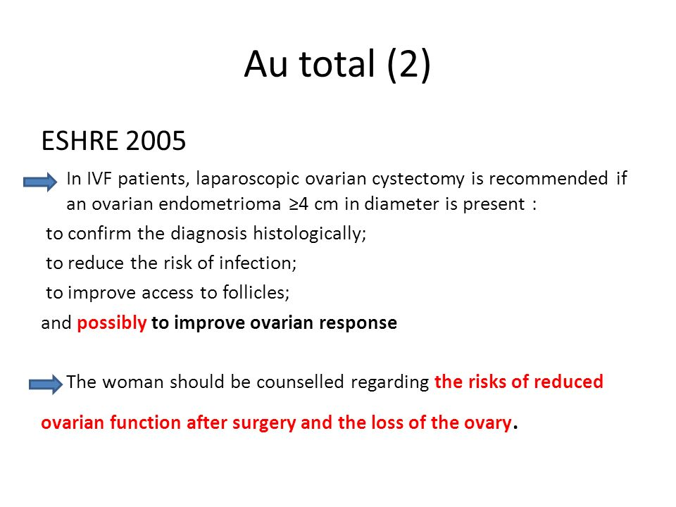 Au total (2) ESHRE In IVF patients, laparoscopic ovarian cystectomy is recommended if an ovarian endometrioma ≥4 cm in diameter is present :