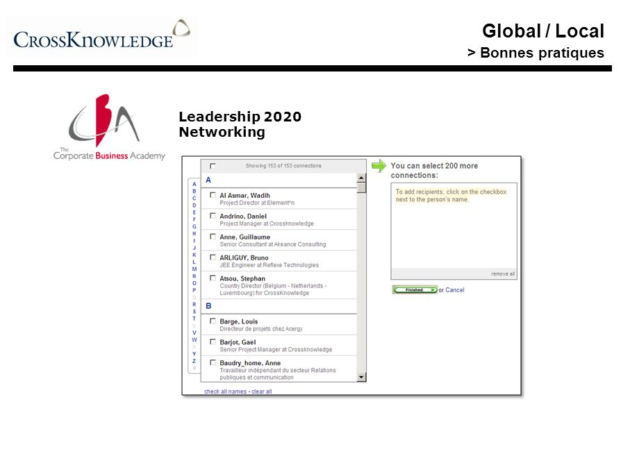 Global / Local > Bonnes pratiques Leadership 2020 Networking