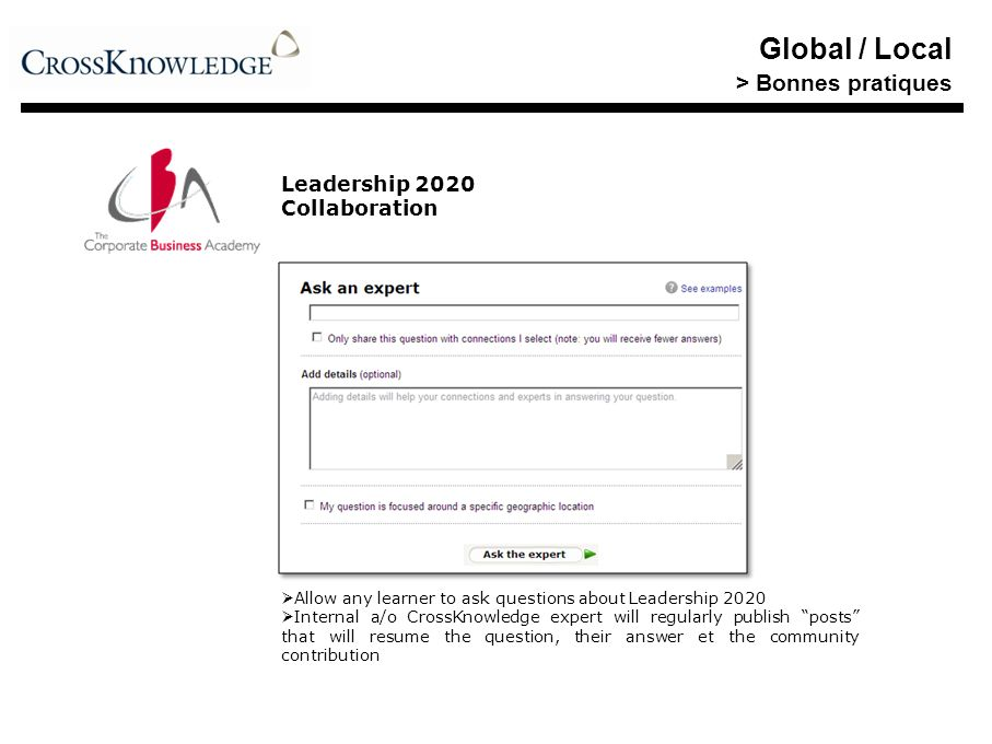 Global / Local > Bonnes pratiques Leadership 2020 Collaboration