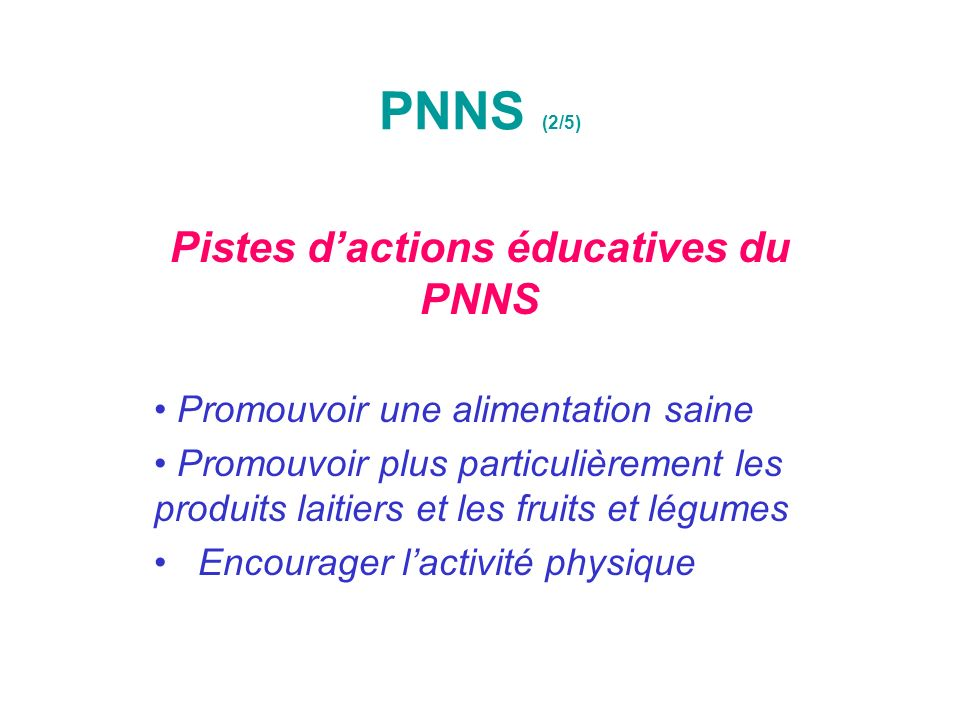 Pistes d'actions éducatives du PNNS