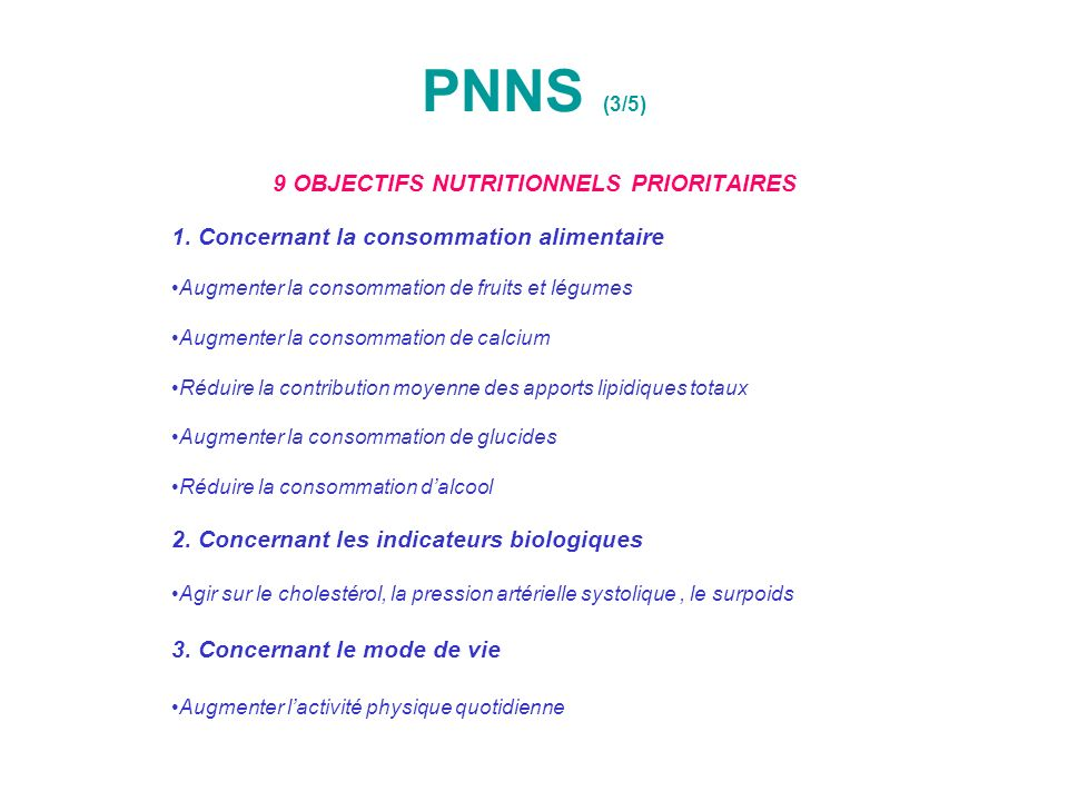 9 OBJECTIFS NUTRITIONNELS PRIORITAIRES