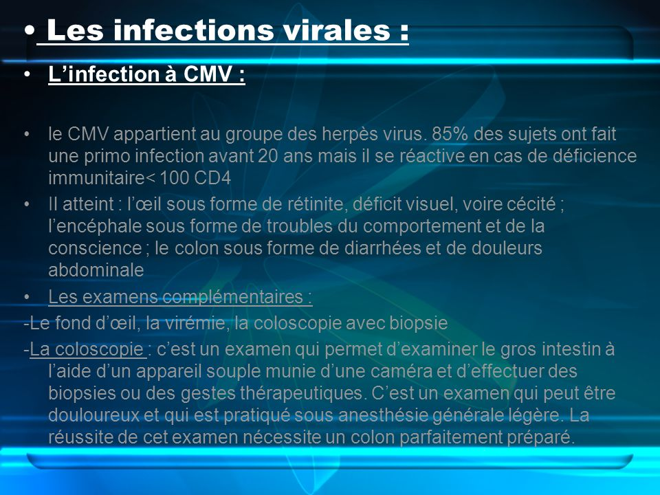 Les infections virales :
