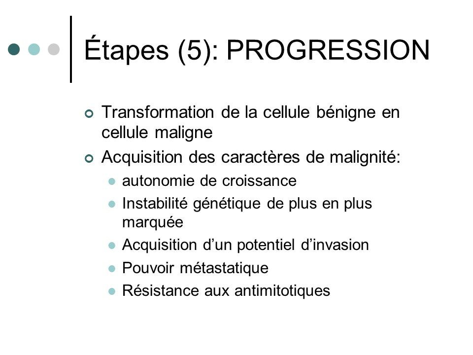 Étapes (5): PROGRESSION