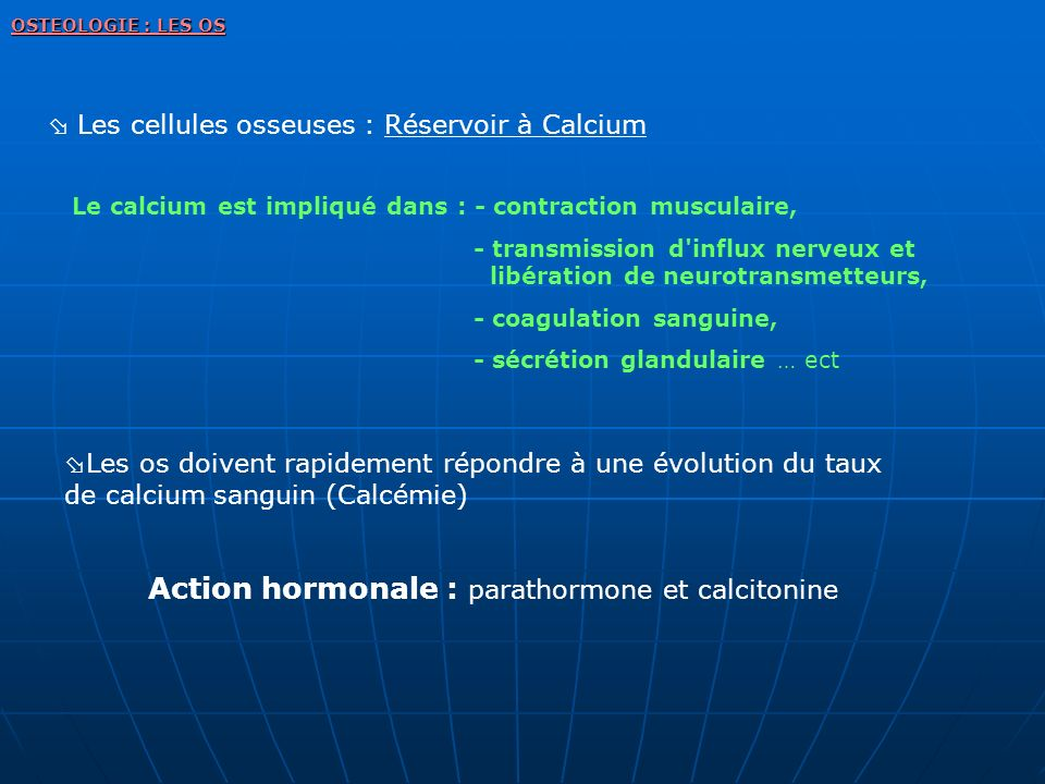 Action hormonale : parathormone et calcitonine