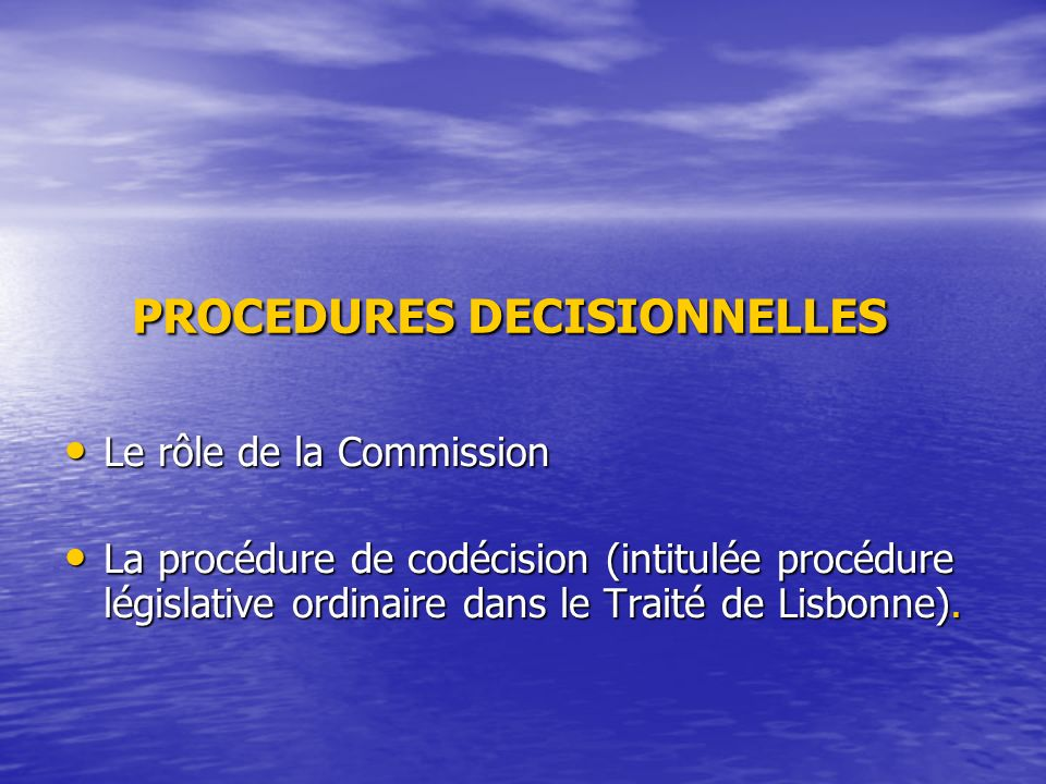 PROCEDURES DECISIONNELLES