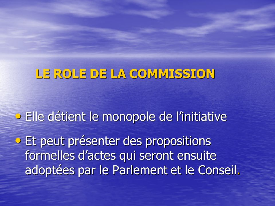 LE ROLE DE LA COMMISSION