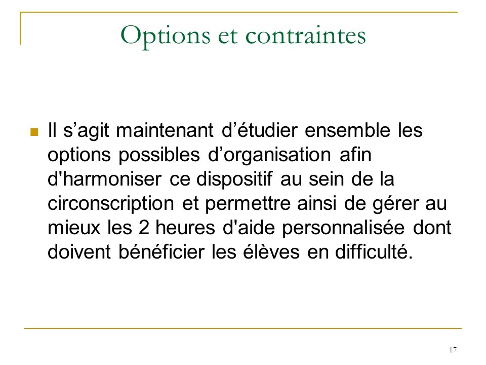 Options et contraintes