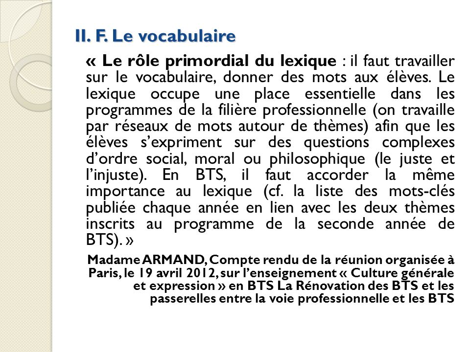 II. F. Le vocabulaire