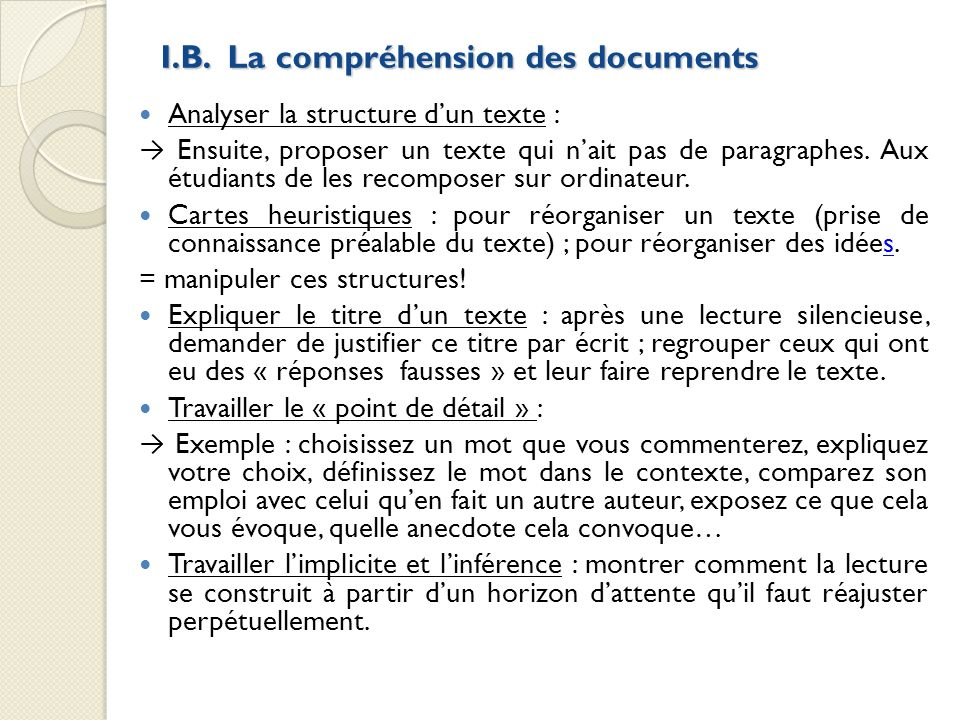 I.B. La compréhension des documents