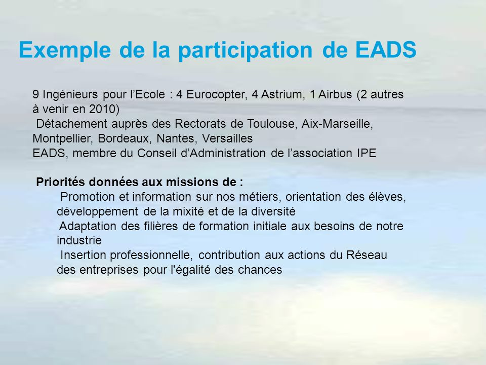 Exemple de la participation de EADS