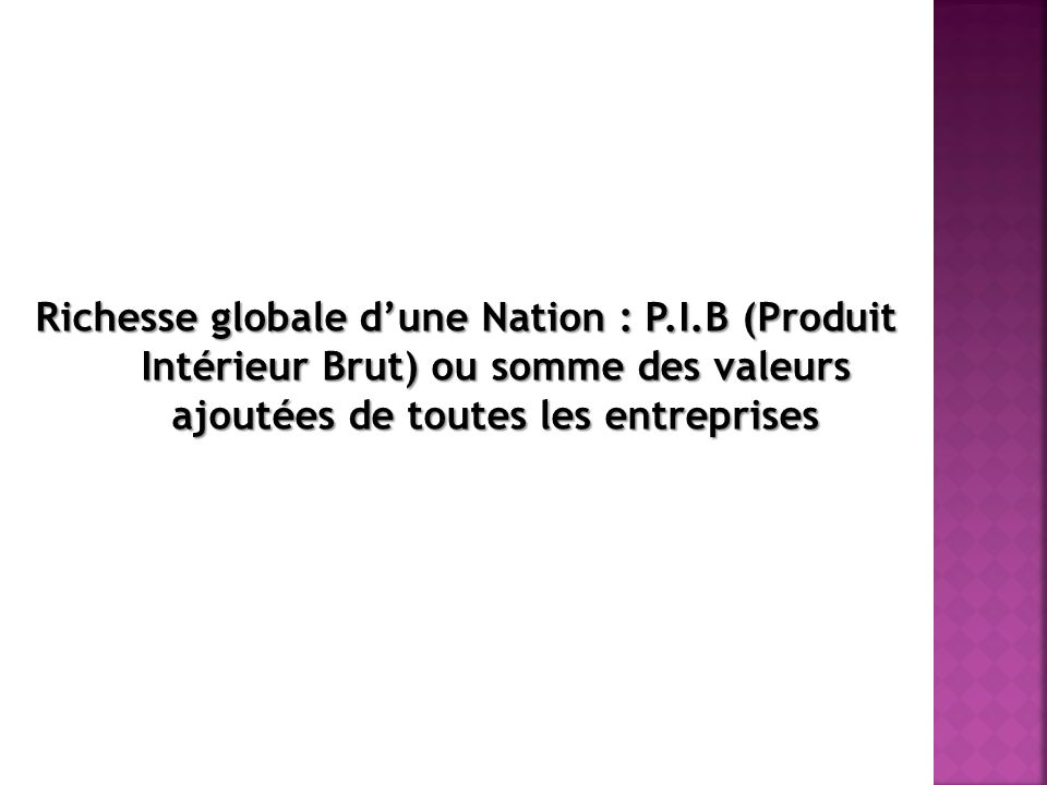 Richesse globale d'une Nation : P. I