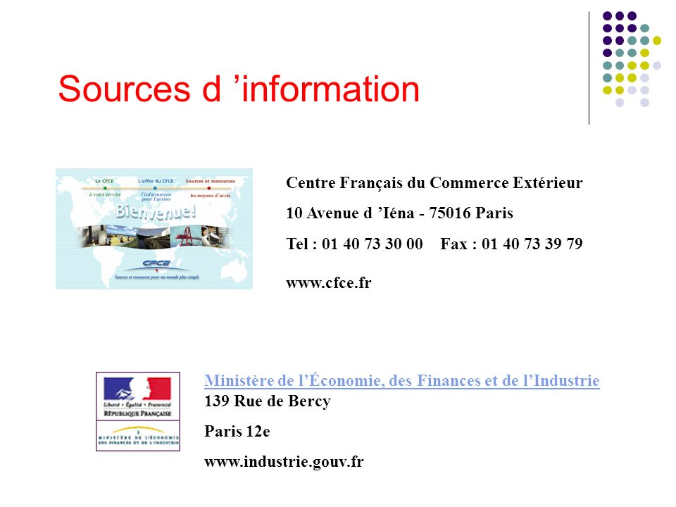 Sources d 'information