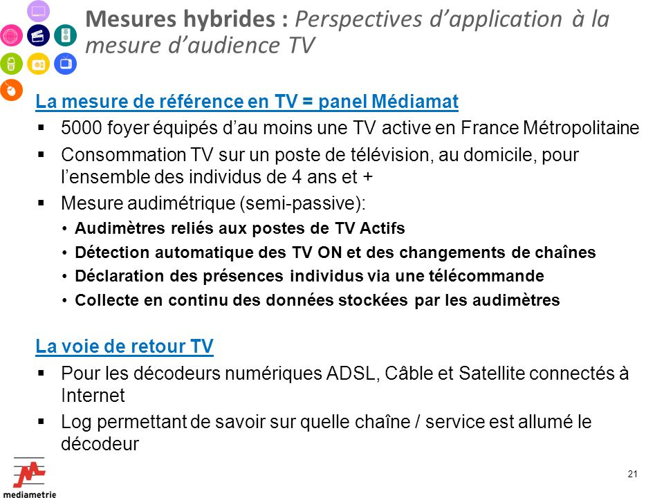 Mesures hybrides : Perspectives d'application à la mesure d'audience TV