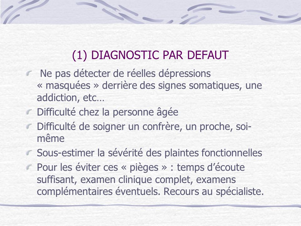 (1) DIAGNOSTIC PAR DEFAUT