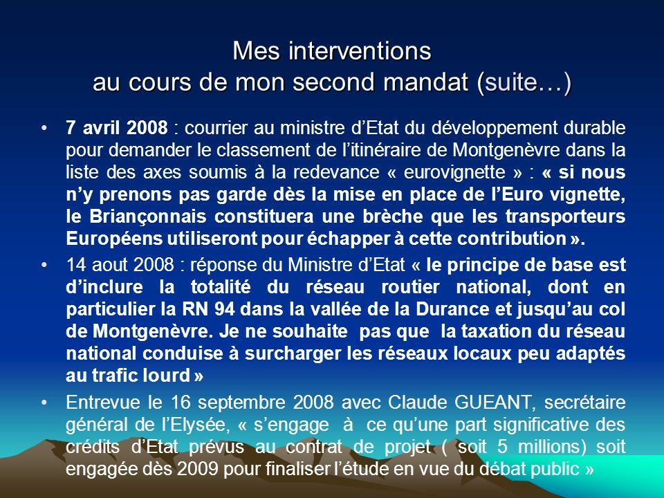 Mes interventions au cours de mon second mandat (suite…)
