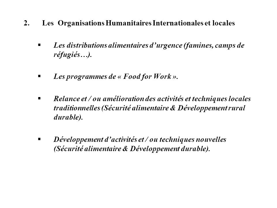 Les Organisations Humanitaires Internationales et locales