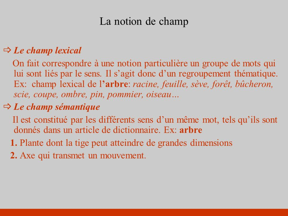La notion de champ Le champ lexical