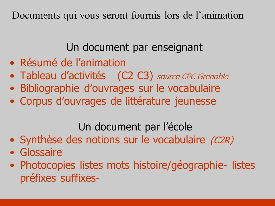 Un document par l'école