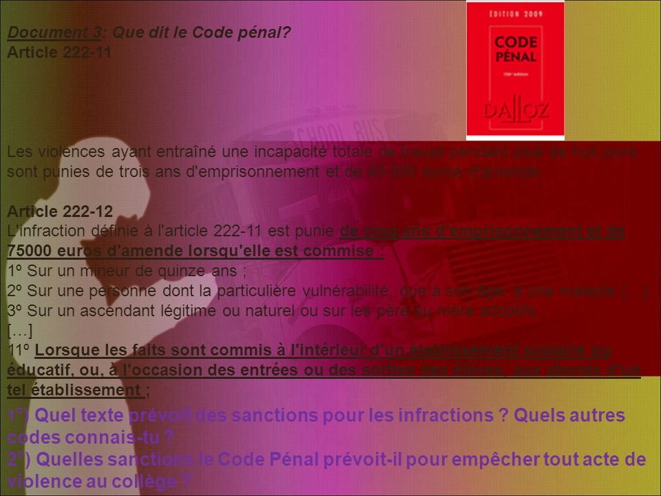 Document 3: Que dit le Code pénal