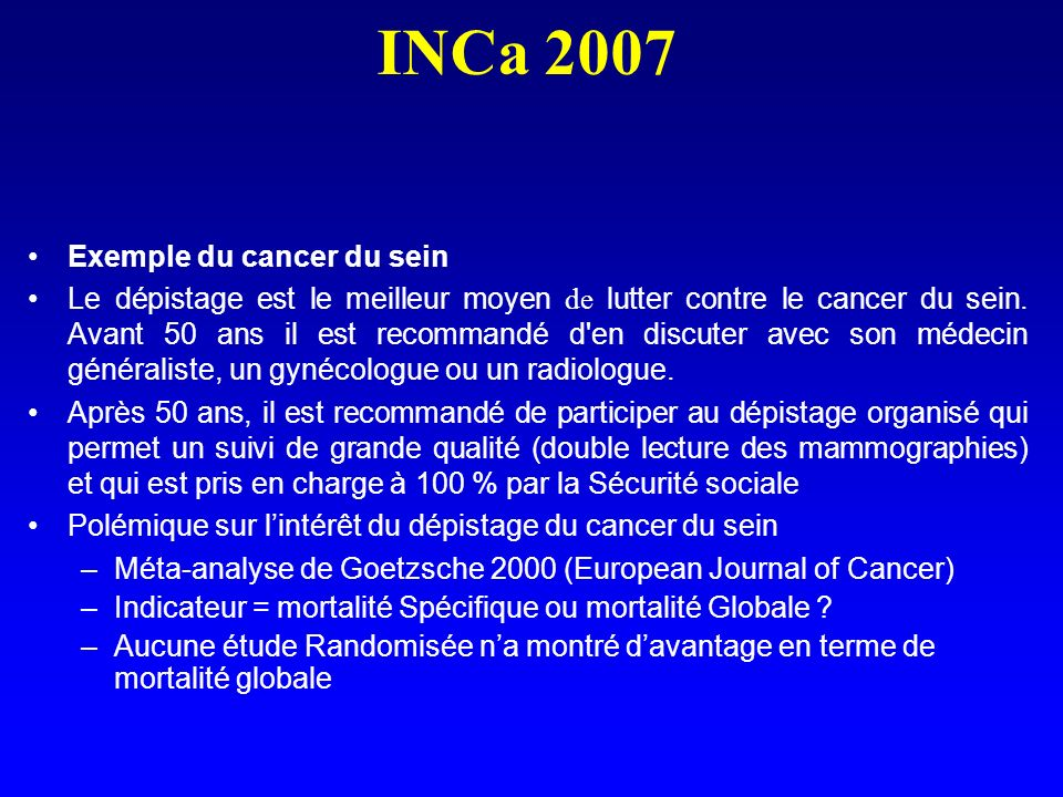INCa 2007 Exemple du cancer du sein