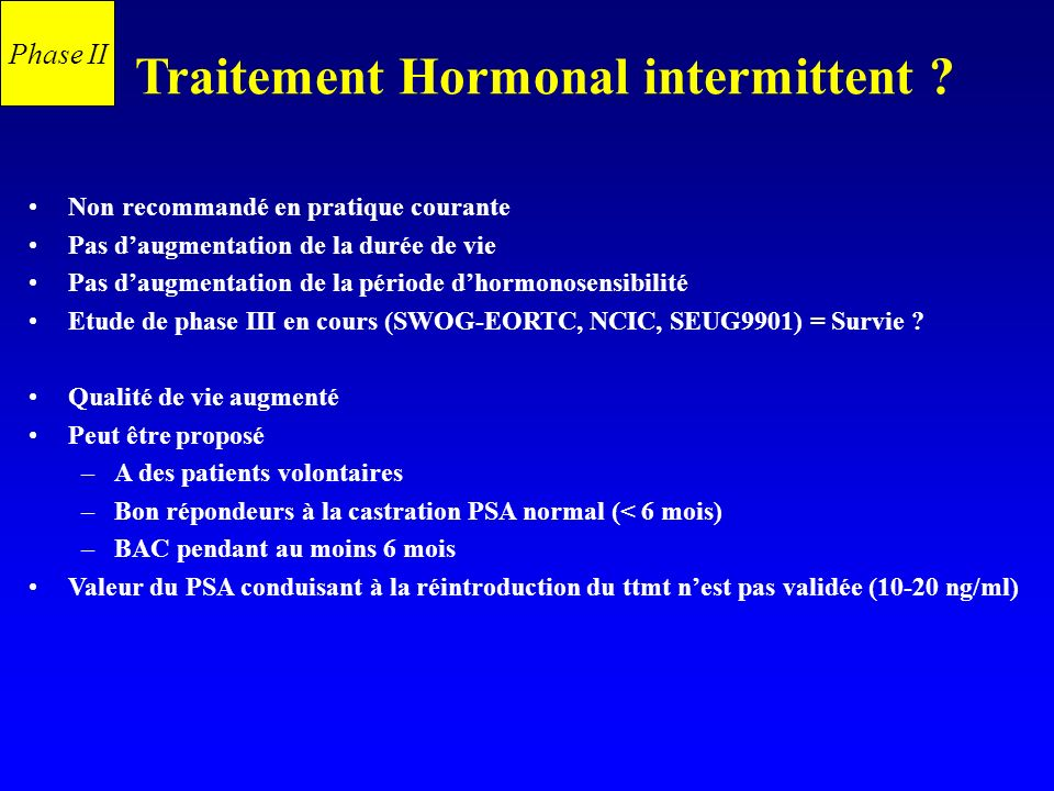 Traitement Hormonal intermittent
