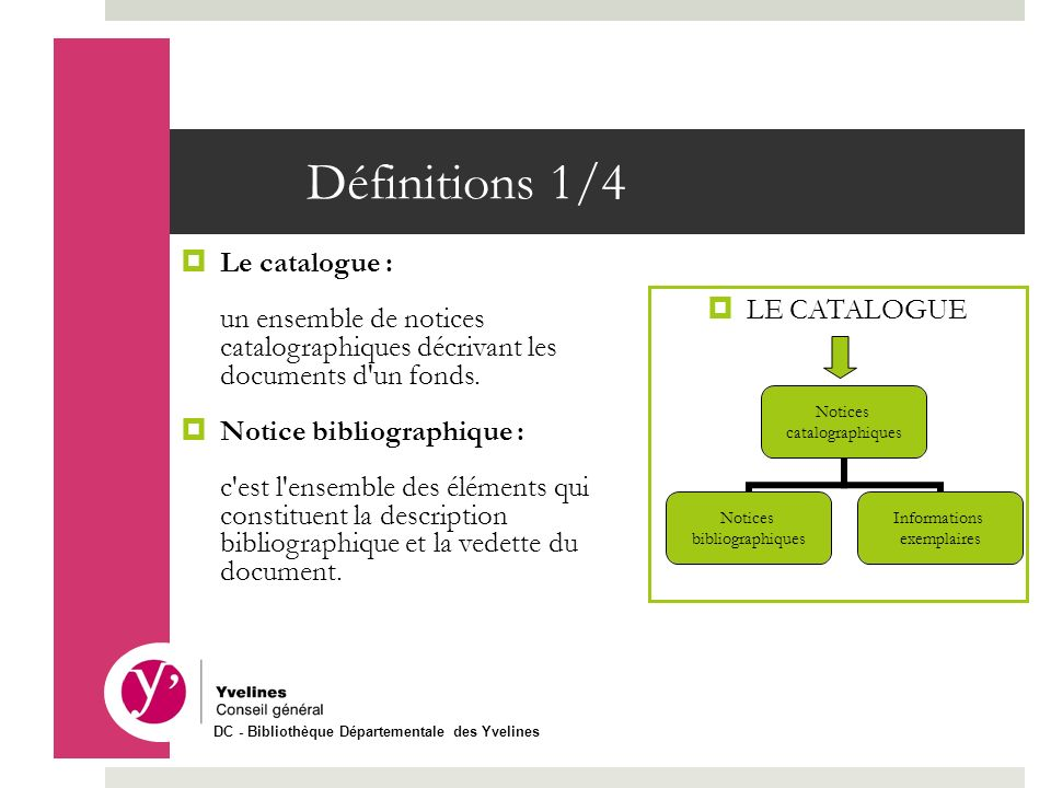 Définitions 1/4 Le catalogue :