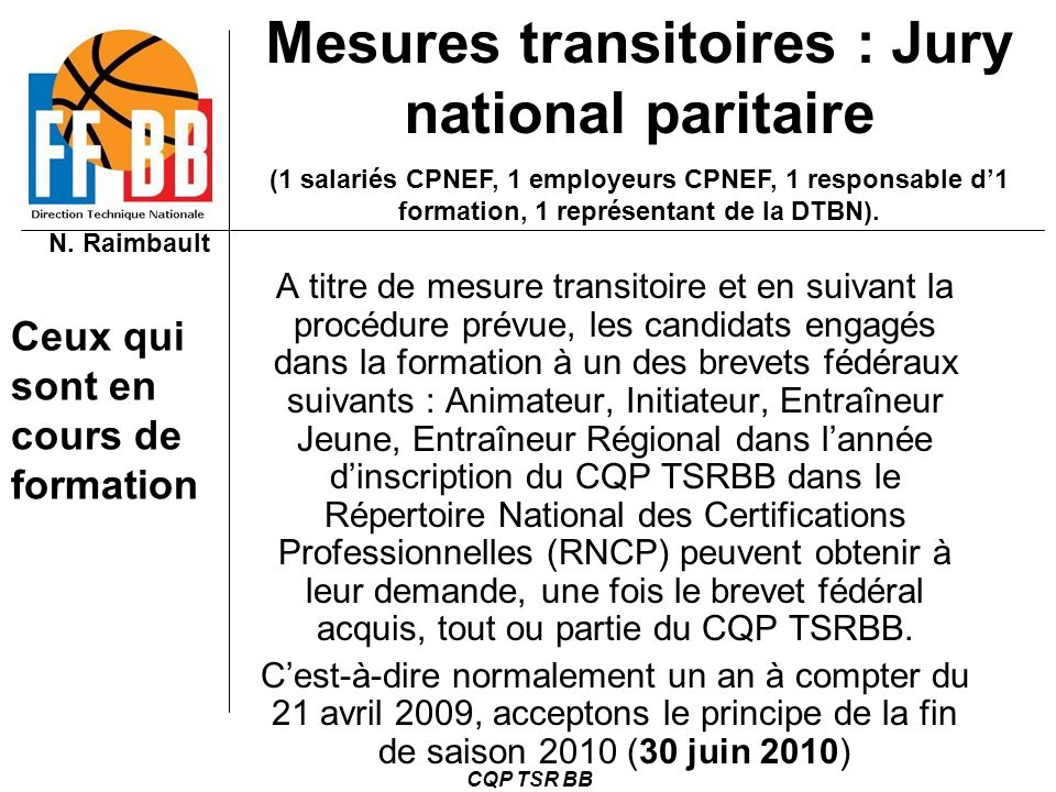 Mesures transitoires : Jury national paritaire