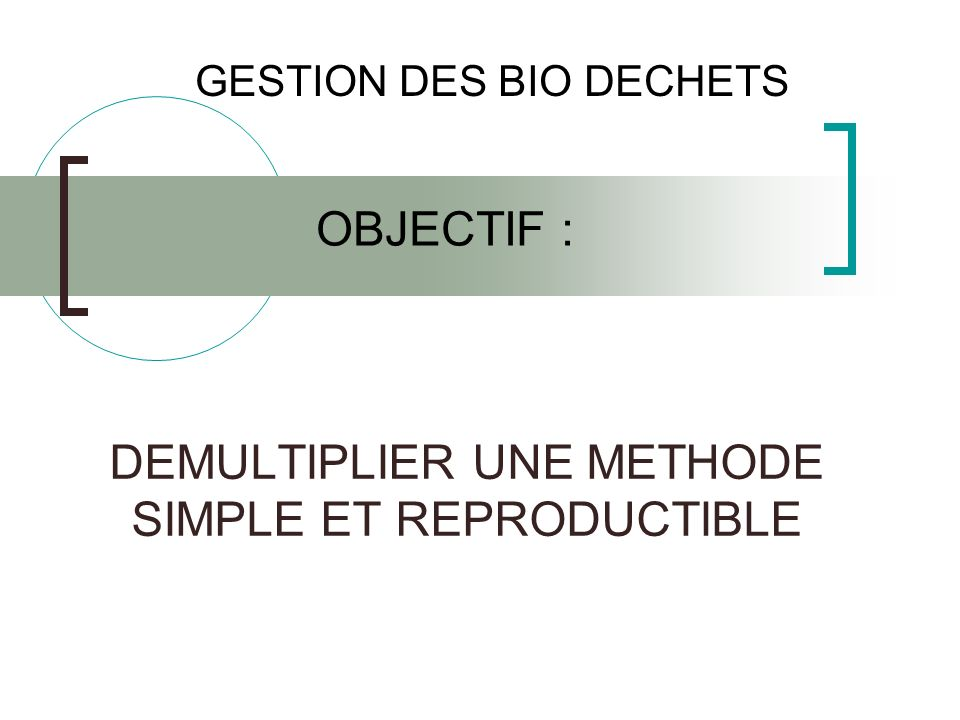 DEMULTIPLIER UNE METHODE SIMPLE ET REPRODUCTIBLE