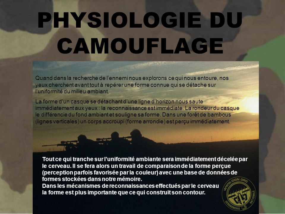PHYSIOLOGIE DU CAMOUFLAGE