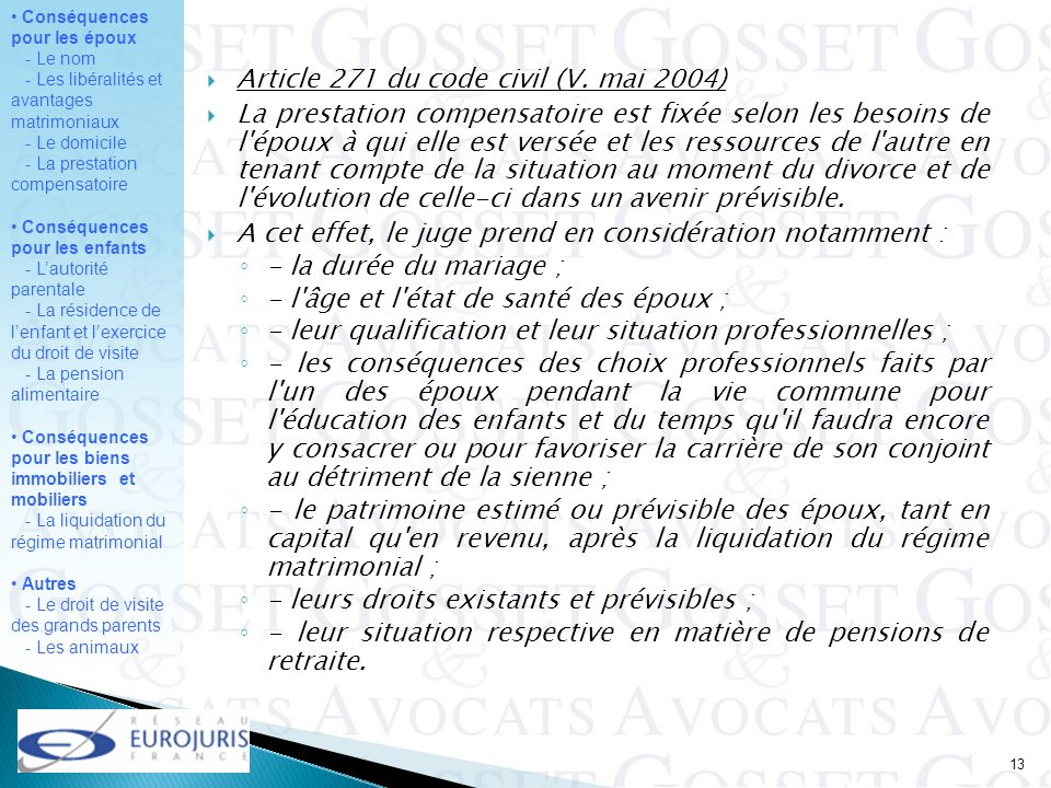 Article 271 du code civil (V. mai 2004)
