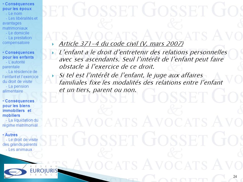 Article du code civil (V. mars 2007)