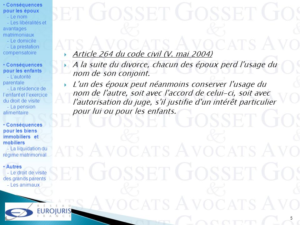 Article 264 du code civil (V. mai 2004)