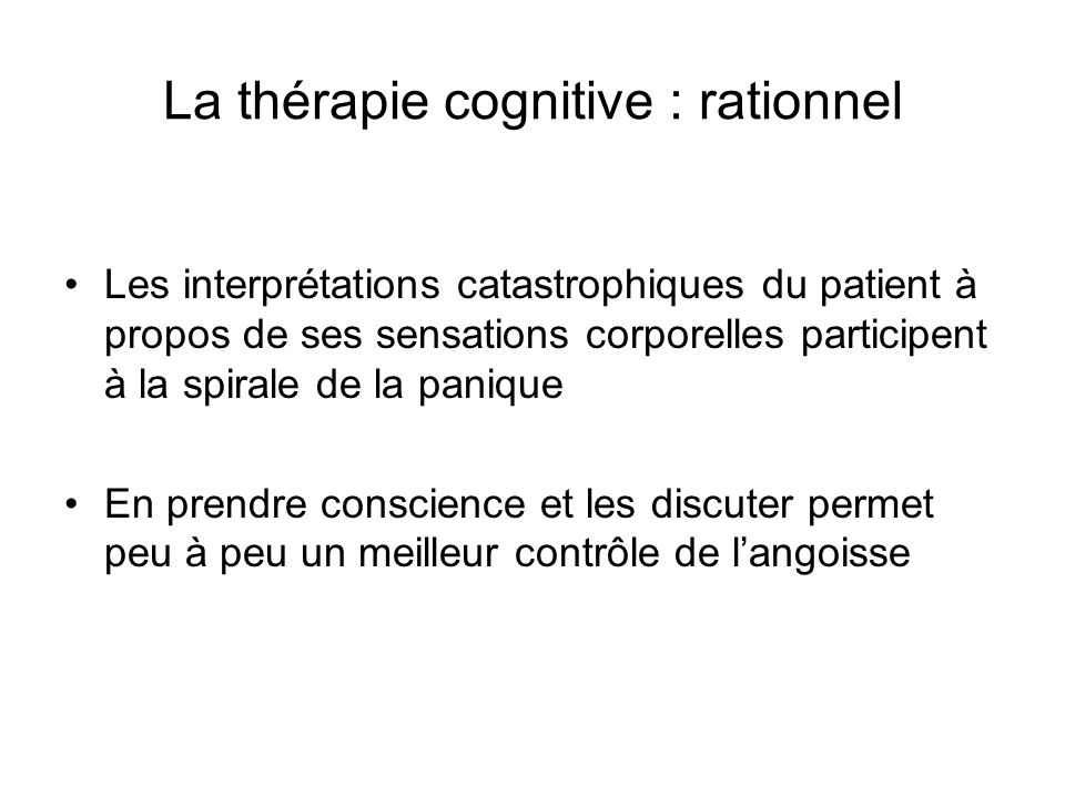 La thérapie cognitive : rationnel