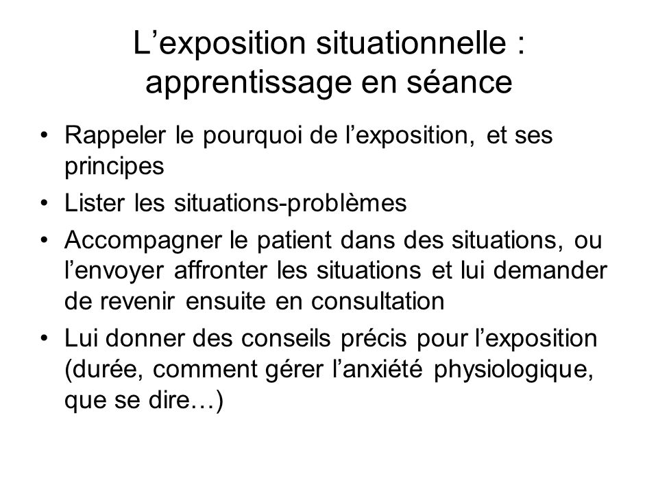 L'exposition situationnelle : apprentissage en séance