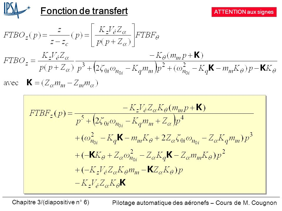 Fonction de transfert ATTENTION aux signes