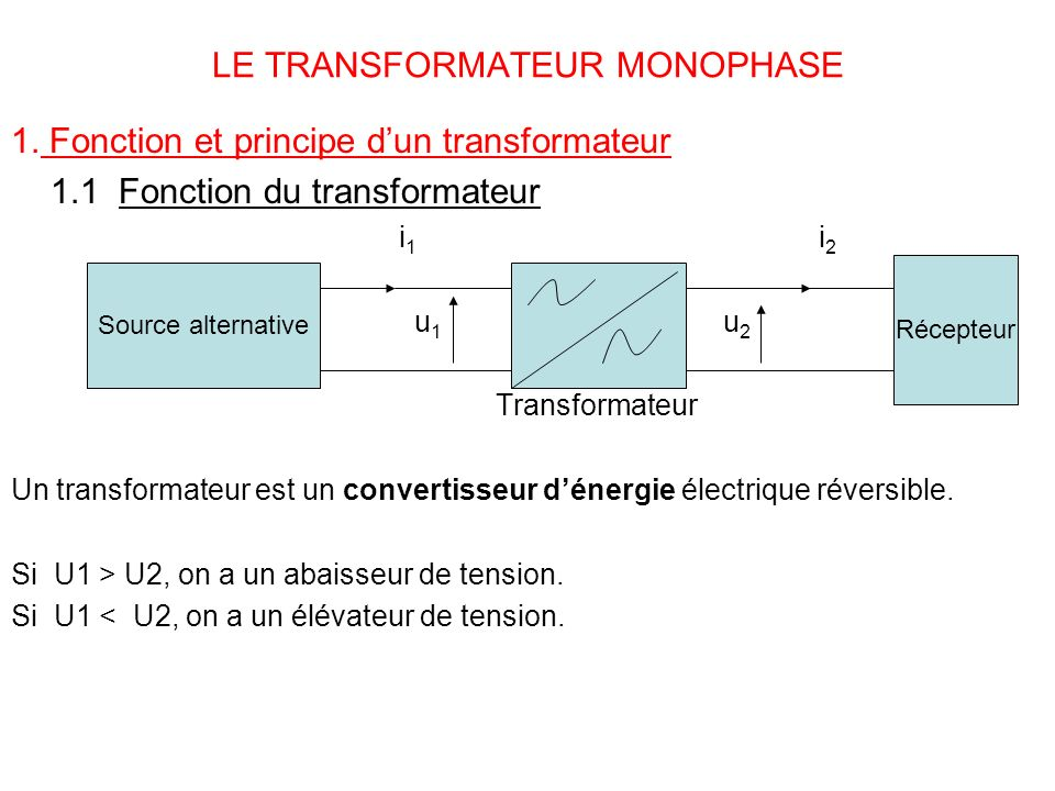 LE TRANSFORMATEUR MONOPHASE