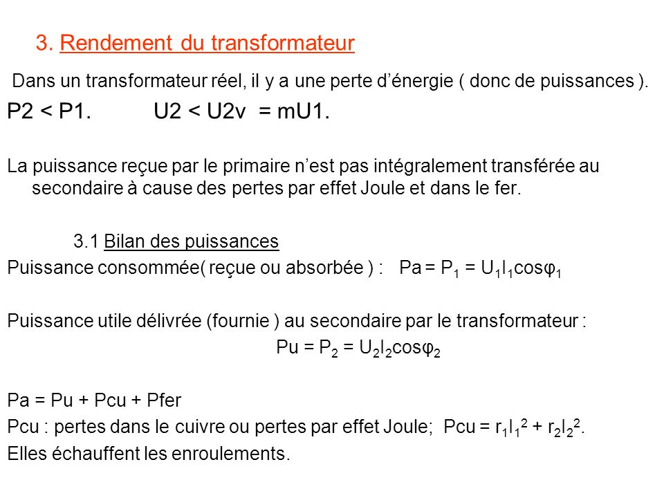 3. Rendement du transformateur