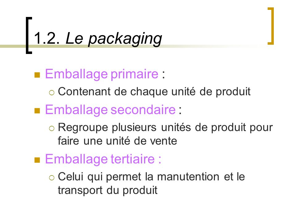 1.2. Le packaging Emballage primaire : Emballage secondaire :