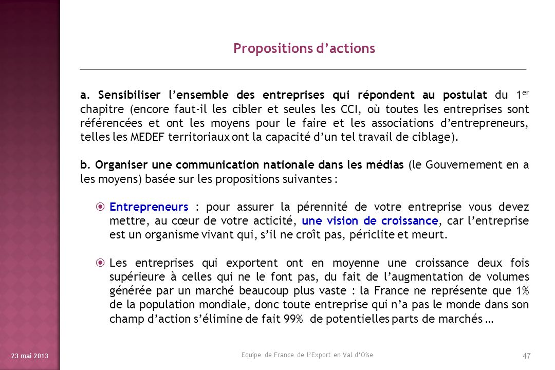 Propositions d'actions