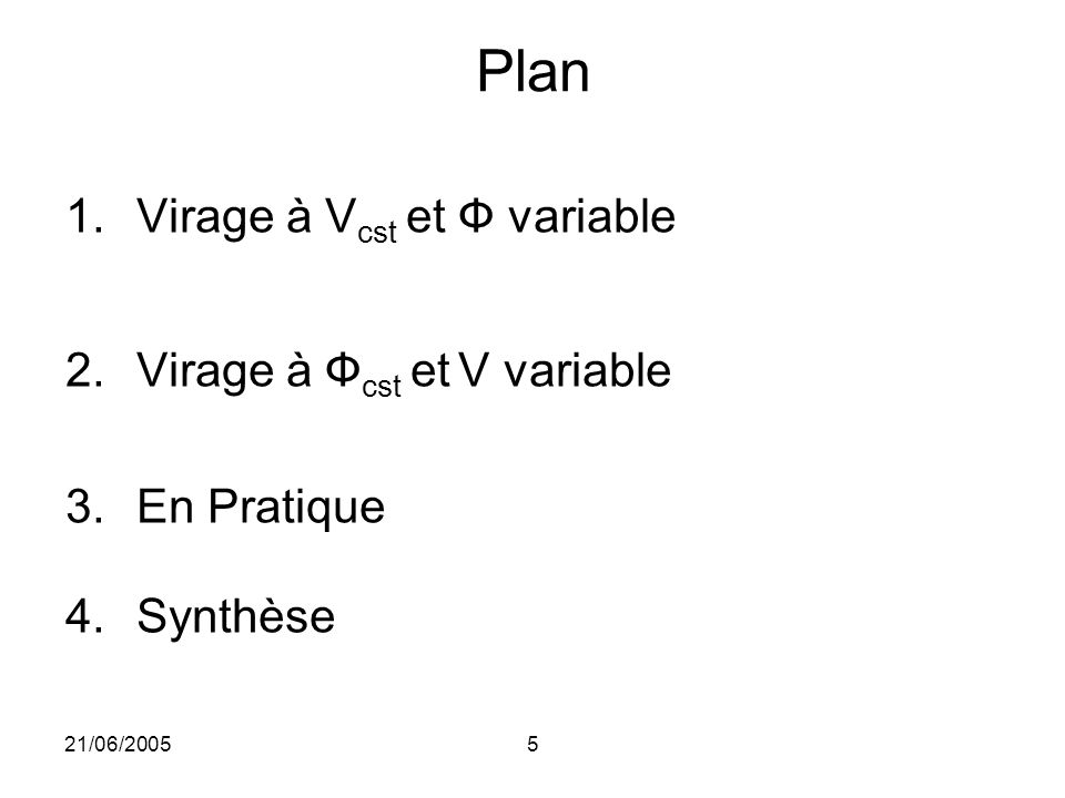 Plan Virage à Vcst et Ф variable Virage à Фcst et V variable