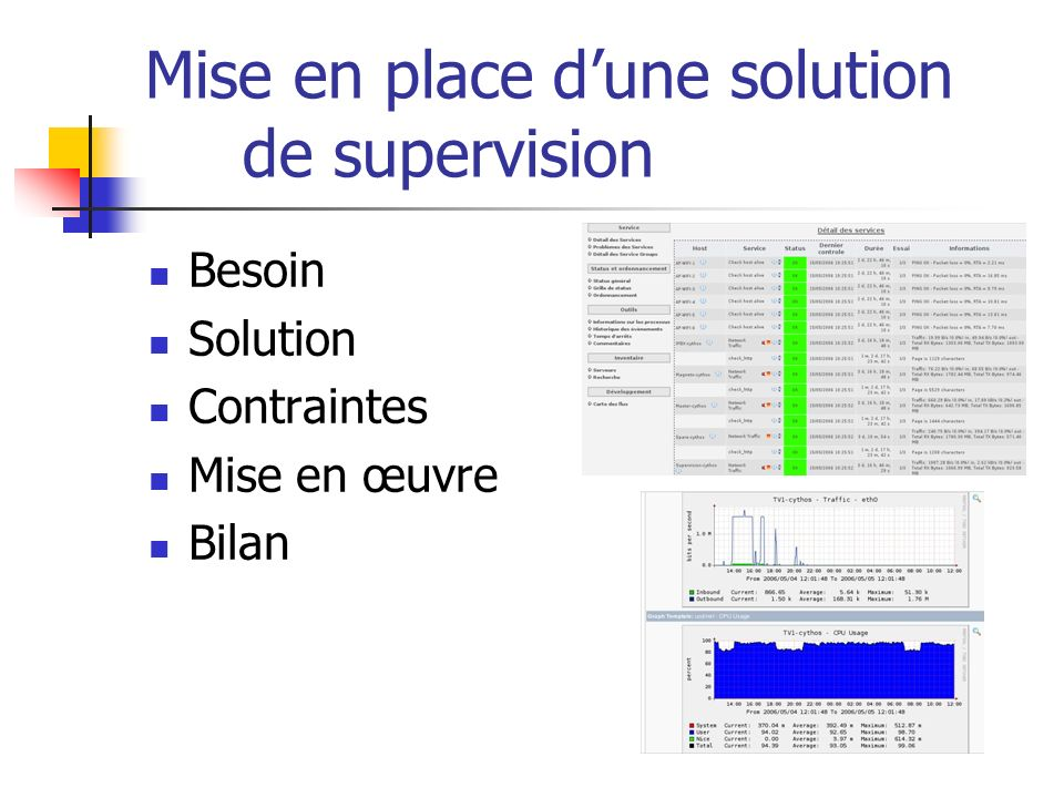 Mise en place d'une solution de supervision