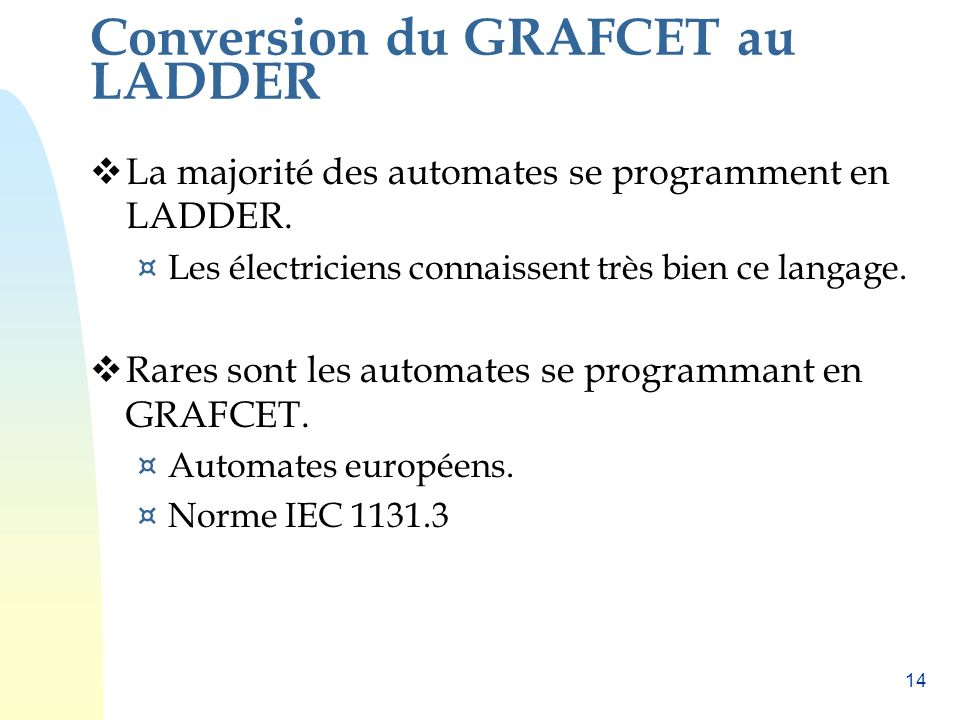 Conversion du GRAFCET au LADDER