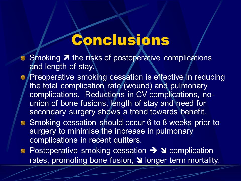 Conclusions Smoking  the risks of postoperative complications and length of stay.