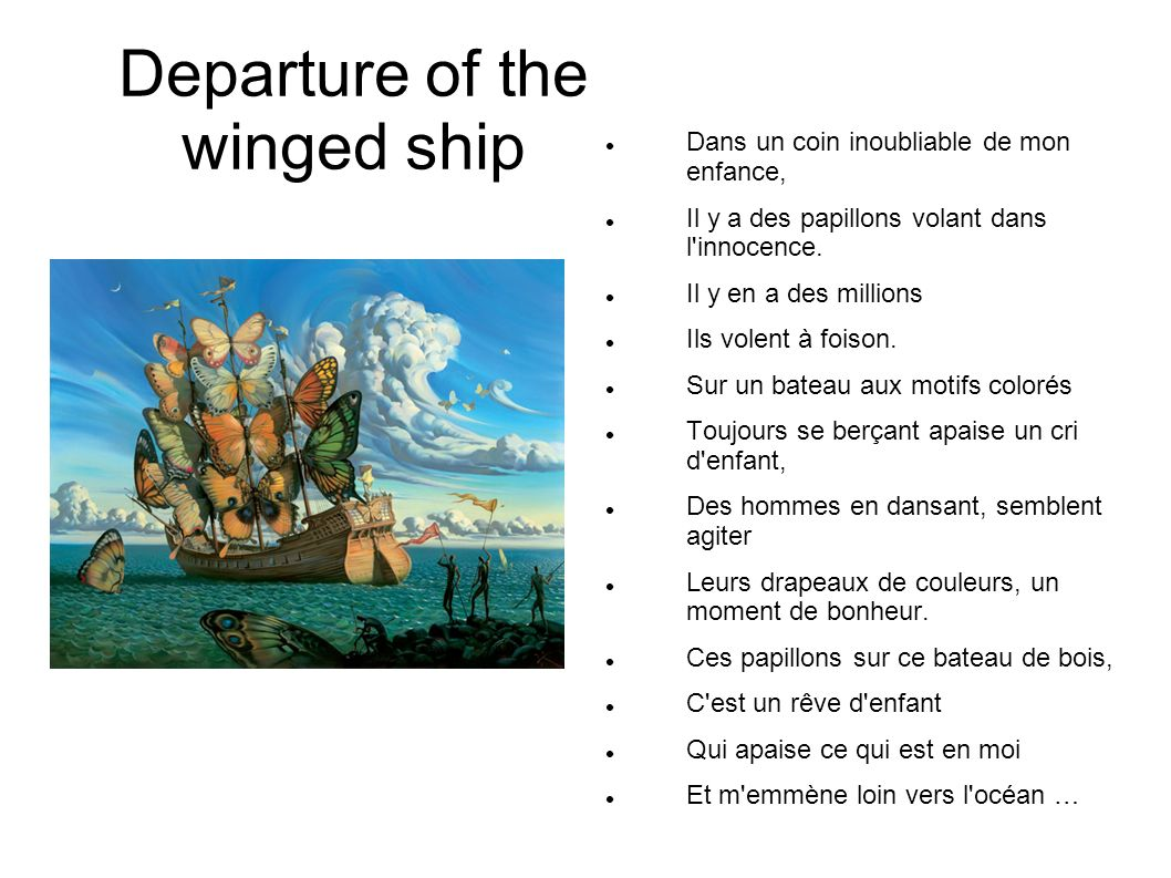 Departure of the winged ship
