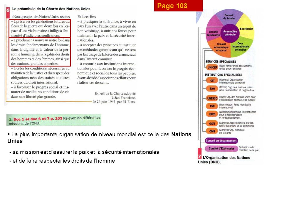 Page 103 La plus importante organisation de niveau mondial est celle des Nations Unies.