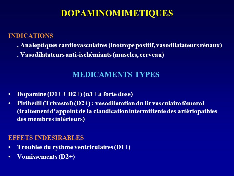 DOPAMINOMIMETIQUES MEDICAMENTS TYPES INDICATIONS
